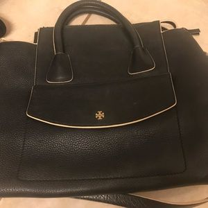 TORY BURCH Black Pebble Leather Purce